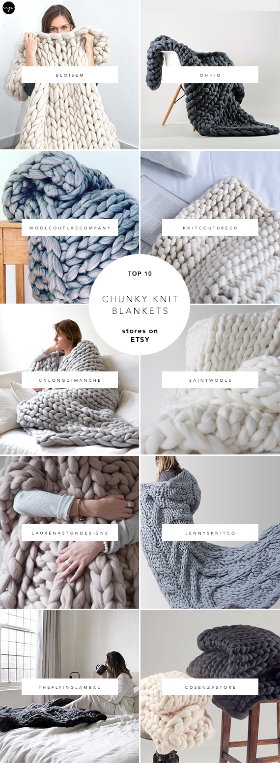 10 best sources for chunky knit blankets on Etsy. Handmade chunky blankets, knitted blankets and throws, extra large knit blankets, giant knit blanket, super chunky blanket, knitted throw,