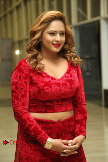 Actress Nikesha Patel Pictures in Red Dress at Araku Road Lo Audio Launch  0012.JPG