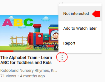 YouTube Not Interested Feature