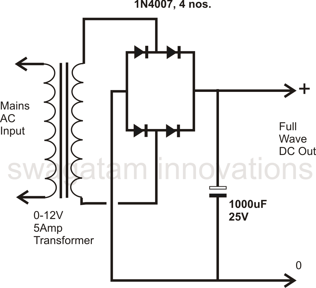 full wave bridge rectifier circuit with capacitor filter