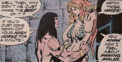 Conan the barbarian #44, Conan gropes Red Sonja