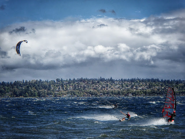 Kiteboarding and windsurfing at Magnuson Park in Seattle