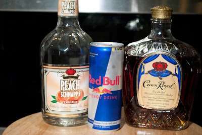 Prince Albert, cocktail, crown royal, crown royal whisky red bull, energy drink, peach schnapps