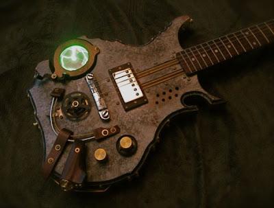 Guitarra electrica steampunk muy creativa