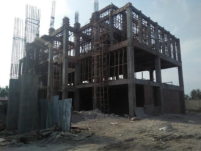 Pembangunan gedung kantor Bappeda Tanjungbalai yang tak selesai hingga Maret 2018.