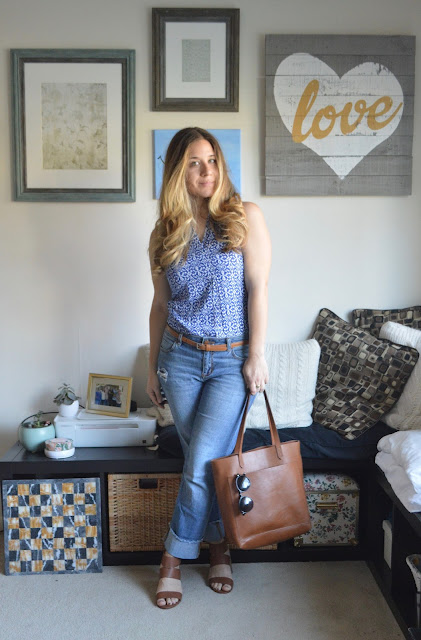 Boyfriend Jeans & Brown Accents: Sleeveless Top // Caslon Boyfriend Jeans // Skinny Brown Gap Belt // Sam Edelman Brown Block Heel Sandals // Madewell Tote // BP Sunglasses // peplumsandpie.com