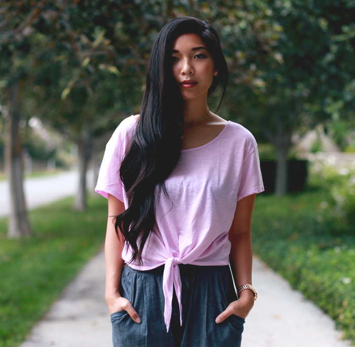 Stephanie Liu of Honey & Silk wearing Victoria's Secret PINK tee, Piper Gore Chambray Pants, Zara heels, and La Mer Odyssey watch