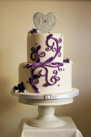Let Them Eat Cakes: Purple and Silver Wedding Cake - Maplewood Lodge ...