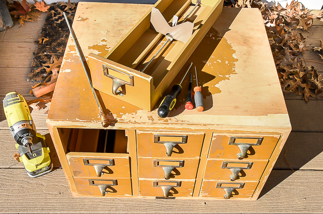 Removing hardware from vintage card catalog