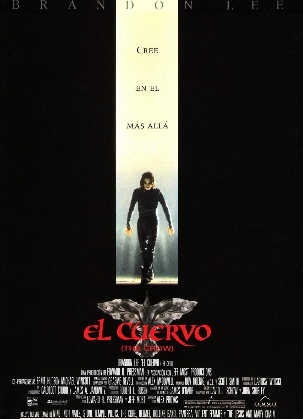 el cuervo, the crow, brandon lee, alex proyas