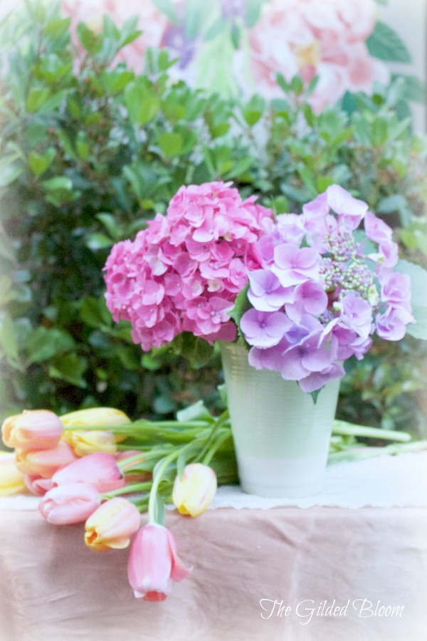 Simple Hydrangea Arrangement- Create a Spring Garden Floral Design