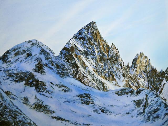 #Aquarelle Montagne #Les Ecrins # Rhône Alpes