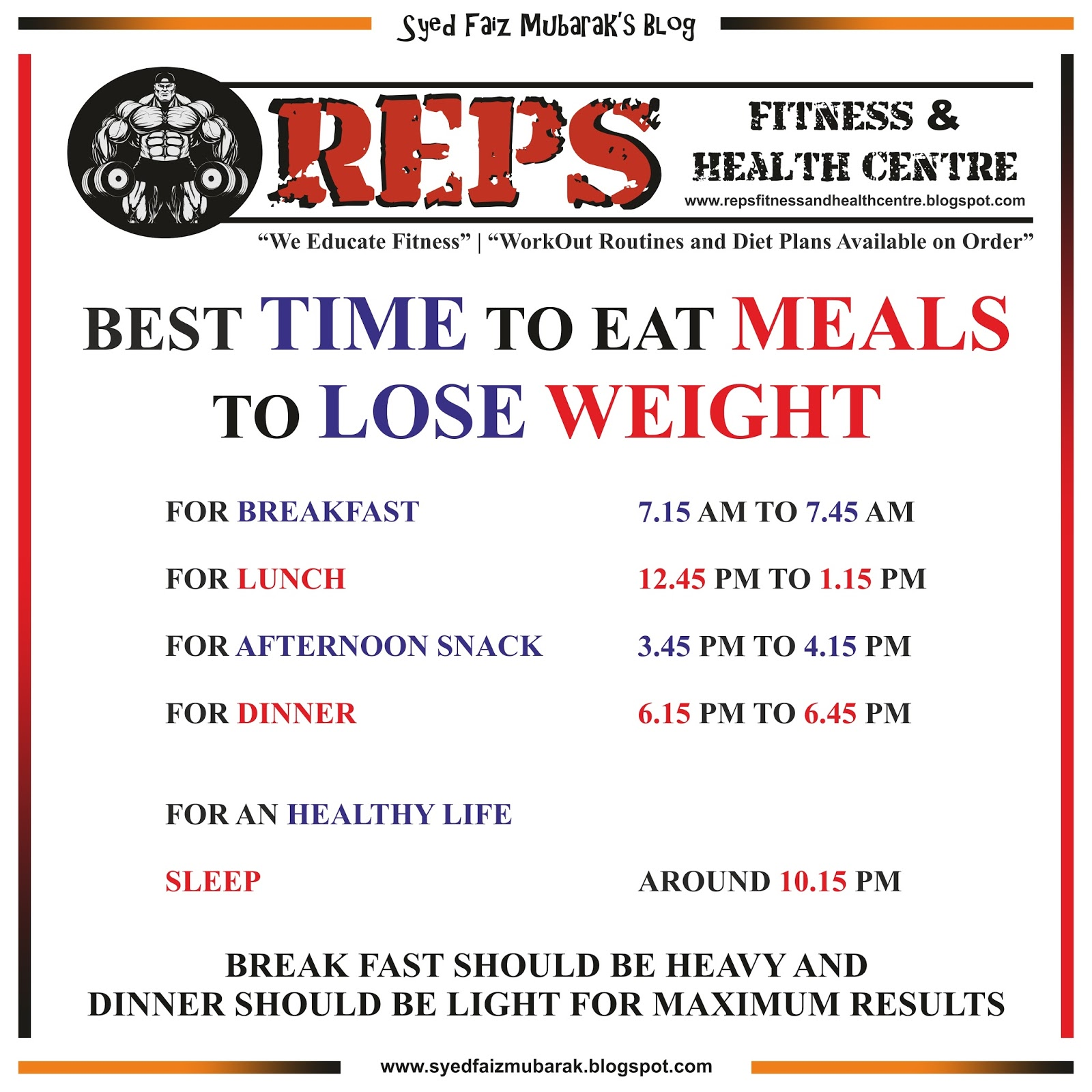 best times to eat meals to lose weight