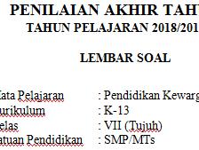 K13 Semester 2 2019 : Soal Pat / Ukk Pkn Kelas 7 Kurikulum 2013 Terbaru