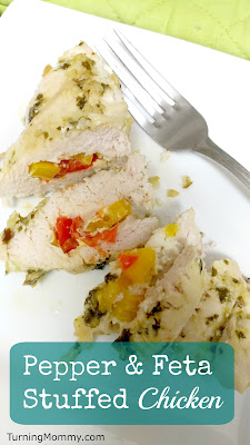 Turning Mommy Pepper feta Stuffed Chicken