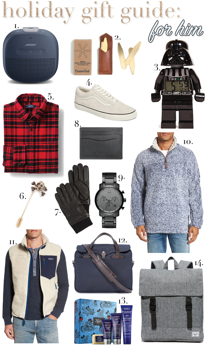 a style caddy, holiday gift guide, Christmas gift guides, holiday gifts 2017, gift guide 2017, gifts for guys, gifts for men, gifts for husbands, gifts for dad, gifts for brothers, gifts for boyfriends, Darth Vader clock, Star Wars, vans sneakers, flannel shirts, club Monaco gloves, Disney x Kiehl's, Patagonia vest, mvmt watch, Herschel supply co. backpack, Christmas gifts