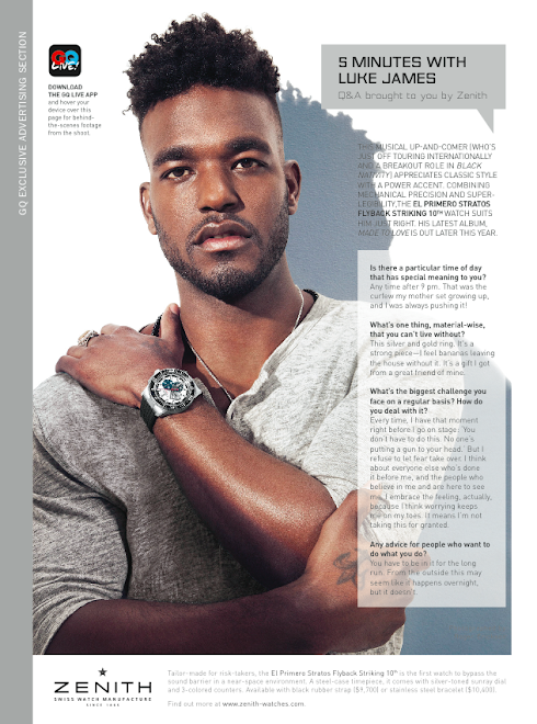 Luke James/Zenith Watches for GQ