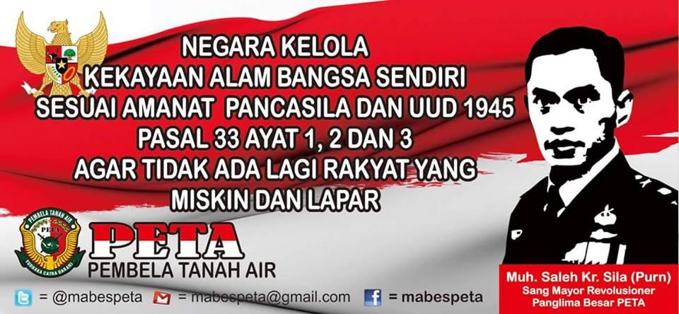 PETA Ajak Rakyat Indonesia Perjuangkan Pasal 33 UUD 1945