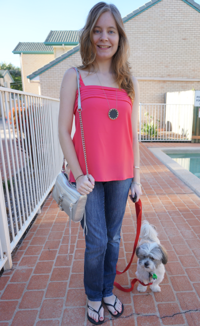 coral cami and jeans casual weekend outfit RM mini MAC