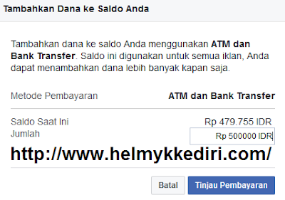 mengisi facebookAds melalui ATM1