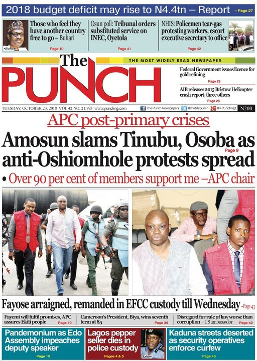Amosun Slams Tinubu, Osoba As Anti-oshiomole Protests Spread - Politics - Nairaland
