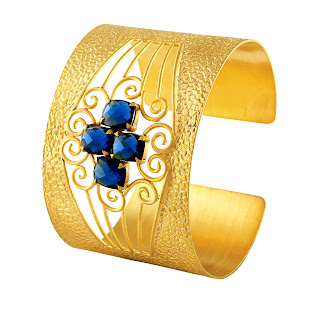 Blue Onyx Textured Cuff by Velvetcase.com.