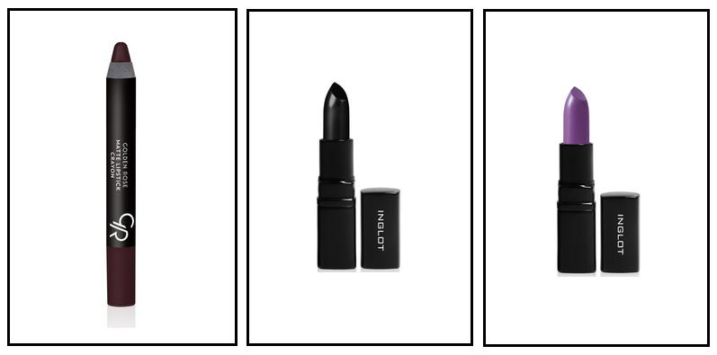 ciemne pomadki, czarna szminka, czarna pomadka, fioletowa szminka