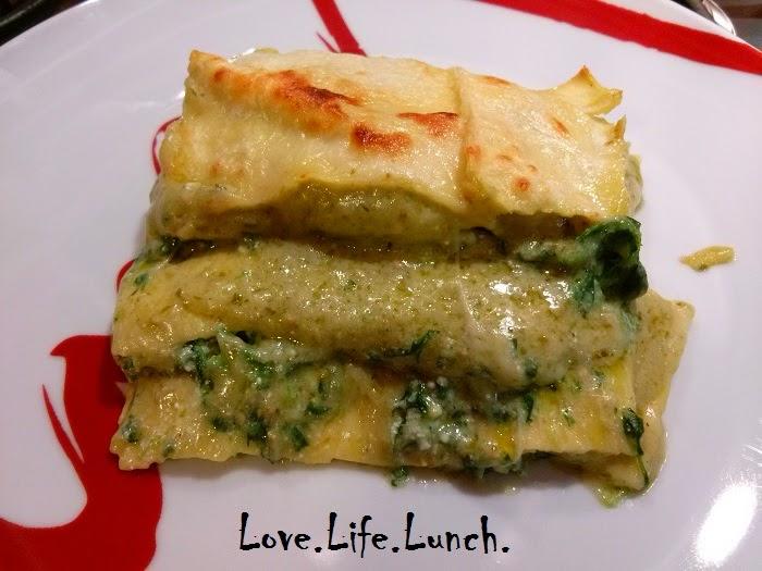 Lasagne verdi con pesto e spinaci