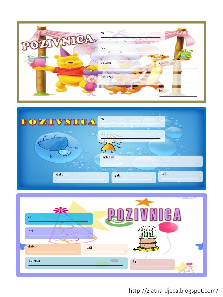 pozivnice za dječji rođendan u boji Zlatna djeca: Rođendanske pozivnice pozivnice za dječji rođendan u boji