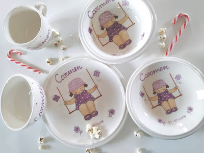 Vajillas infantiles de cerámica pintadas a mano