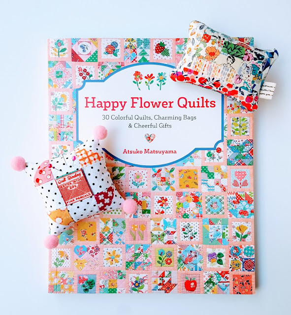 Happy Flowers Quilts Tour post with pin cushions by Heidi Staples of Fabric Mutt