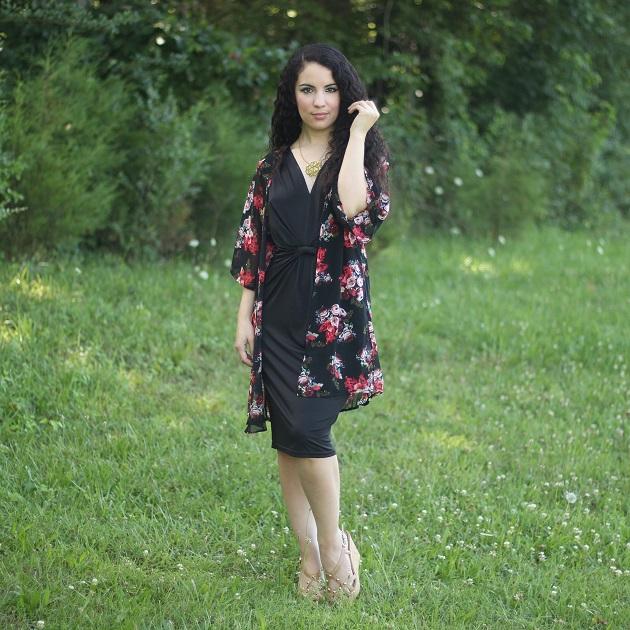Black Sheer Floral Print Kimono