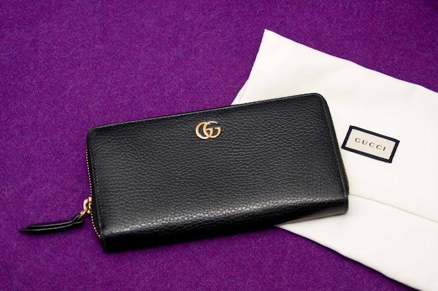 oryginalny portfel Gucci, skóra, zamek,