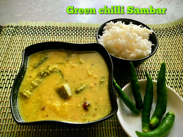 Pacha Milaga Sambar - Green Chilli Sambar with step by step instructions - Sambar withour sambar powder - Sambar for lunch - Sambars are prepared in different ways. They may be prepared by using different kinds of vegetables with different methods. This Pachai milaga sambar is also different Sambar without any sambar powder. Yes, for this sambar there is no need for any powders except the turmeric powder.