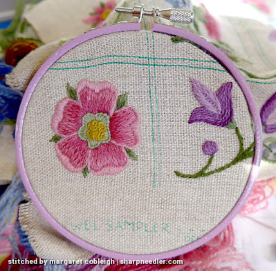 Crewel Sampler (by Elsa Williams): Purple embroidery hoop
