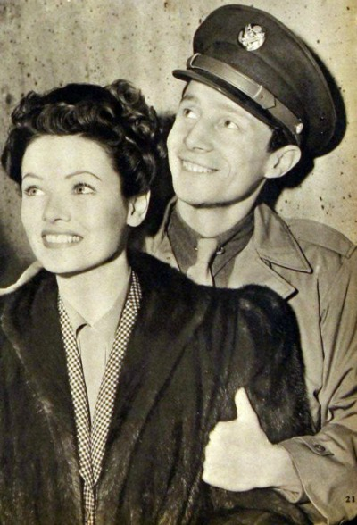 Oleg Cassini in Cavalry Uniform with wife Gene Tierney