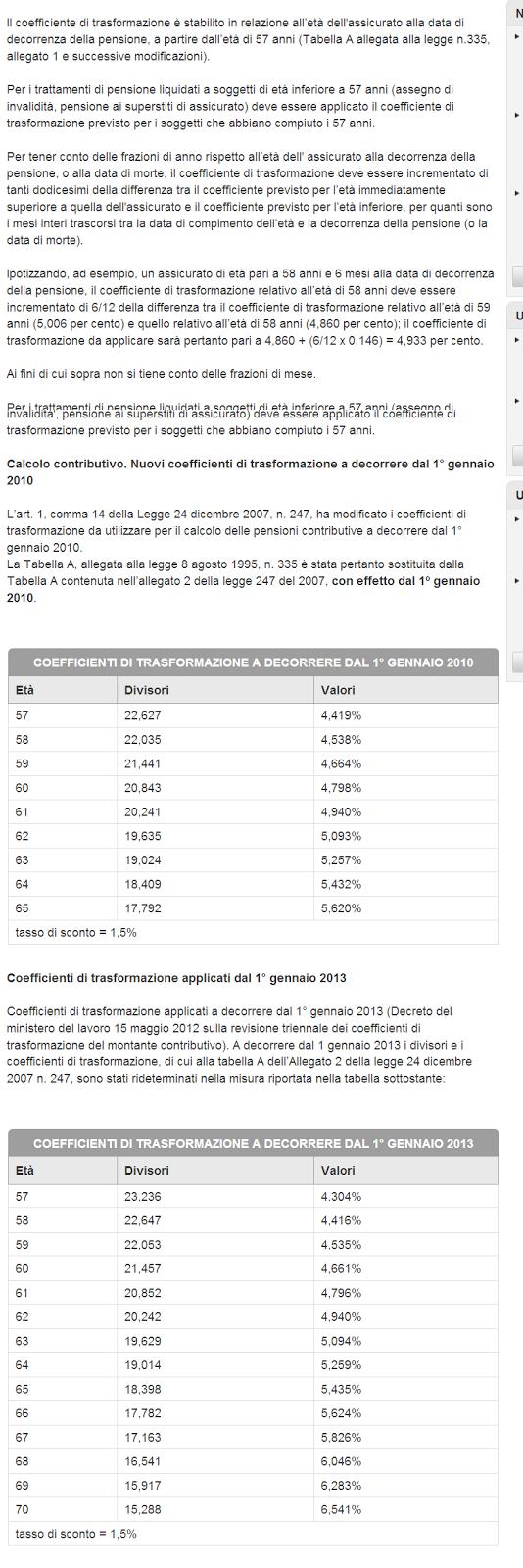 Calcolo pensione con il sistema contributivo - il coefficiente di trasformazione:
