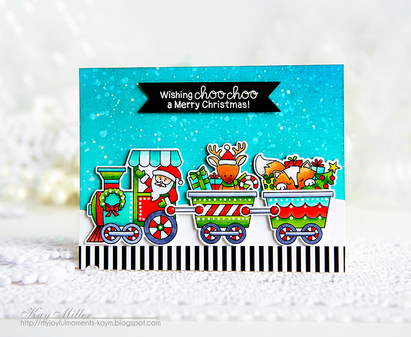 Deck the Halls with Inky Paws Week - Day 2 - Kay Miller | All Aboard for Christmas Stamp set by Newton's Nook Designs #newtonsnook