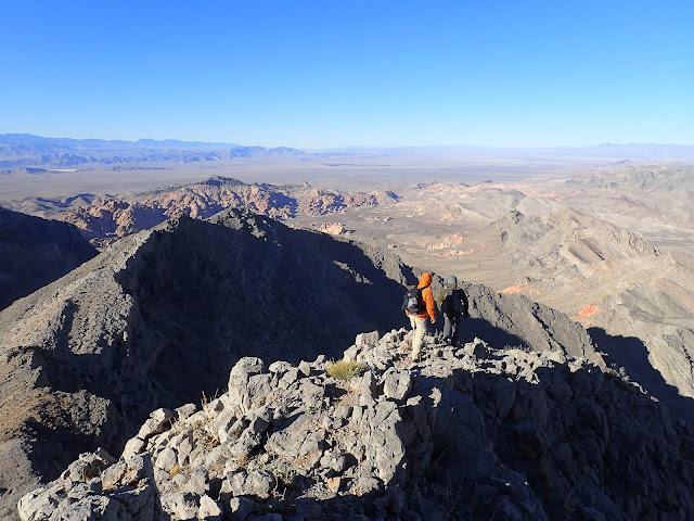 descending the ridge on Muddy Peak
