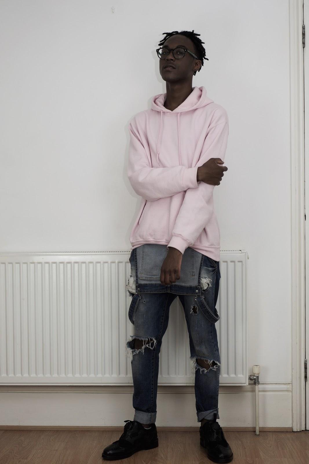 fashion, gay fashion, black gay, gay boy, Puma, hoodie, zara, ripped denim, sneakers, casual clothes, pink jumper, black, ootd, fashion blogger, menswear, mens fashion blogger