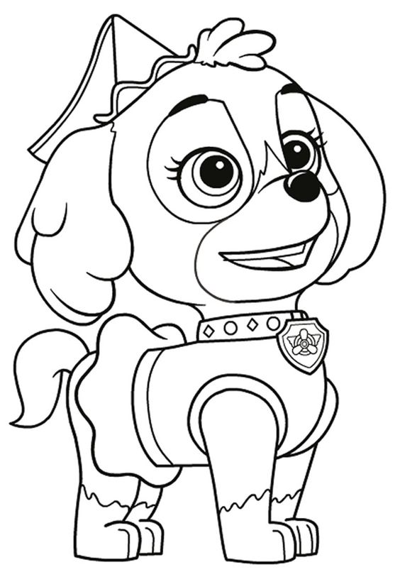 Tranh tô màu chú chó cứu hộ xinh