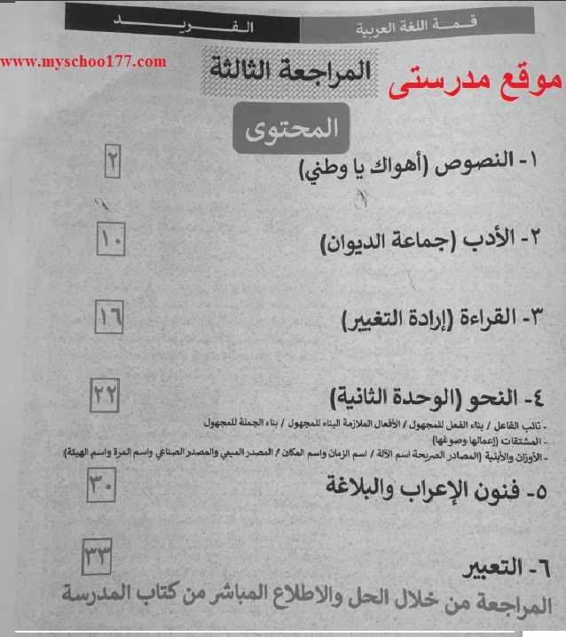 المراجعة الثالثة لغة عربية ثانوية عامة 2019 مراجعة الفريد للأستاذ فريد شوقي