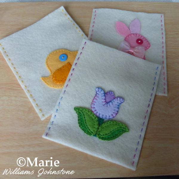Felt Easter bag patterns hand sewn Spring designs Bunny Rabbit Tulip flower and Yellow bird chick