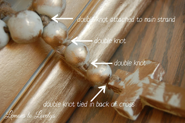 painted decorative beads and cross make the perfect gift!  More on how to DIY at www.lemonstolovelys.blogspot.com