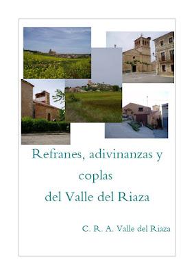 Portada del cuaderno Refranero CRA Valle del Riaza con fotos de las iglesias de los 5 pueblos que lo formaban
