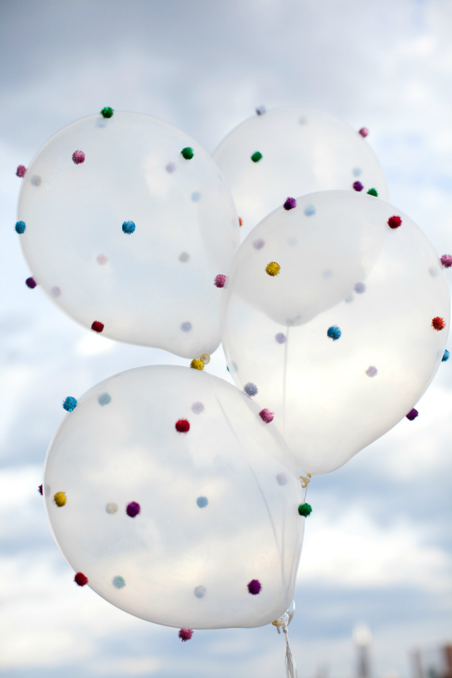 Balloon Decorations Pom-Poms Clear Balloons Color Pop Orb Blue Sky Clouds