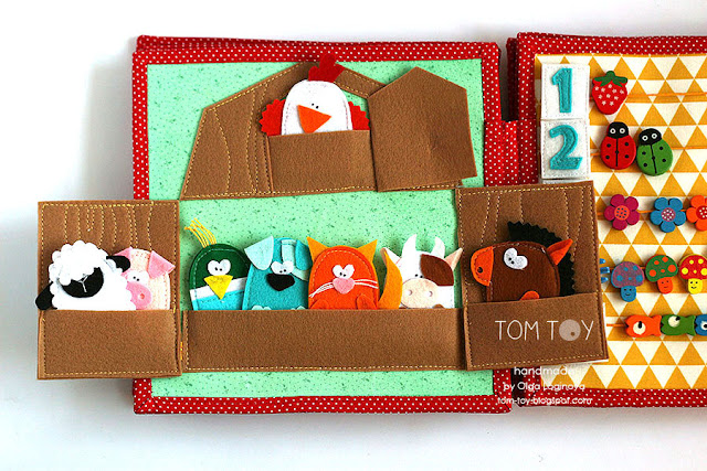 Farm finger puppets quiet book page