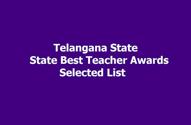 TS State Best Teacher Awards Selected List 2019 (TS State Best Teacher Awardees List)
