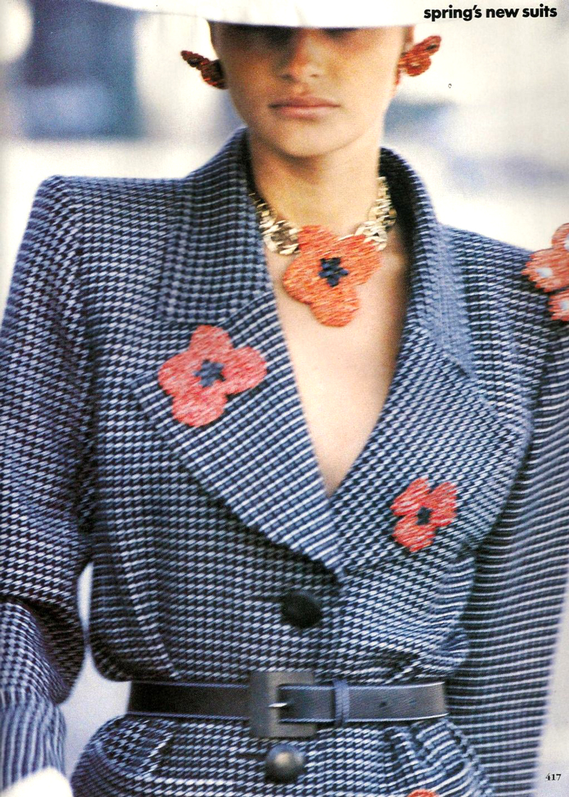 Helena Christensen wearing Yves Saint Laurent in Vogue US March 1990 via www.fashionedbylove.co.uk