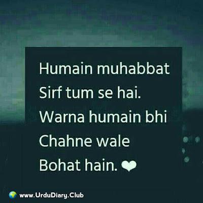 Humain muhabbat sirf tum se hai Warna humain bhi chahne wale bohat hain